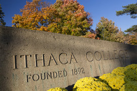 The entrance to Ithaca College.