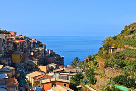 The five towns that make up Cinque Terre are perched on cliffs overlooking the Mediterranean.