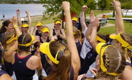 The women's crew team celebrates its 2005 NCAA championship victory
