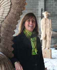 Therese Forton-Barnes with her carvings