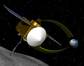 This conceptual image shows OSIRIS-REx moving into place to sample asteroid 1999 RQ36.