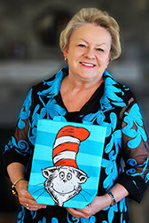 Tish Rabe '73 poses with the Cat in the Hat.