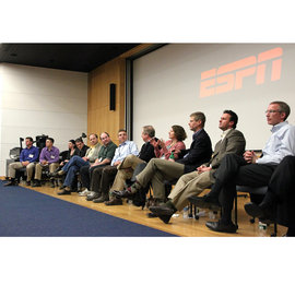 Tom Eschen �11 and Nick Karski �11 interview the ESPN alumni panel.