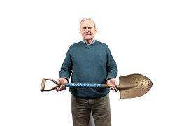 Tom Halm holding a shovel