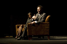 Tony Kushner answers questions as Professor Claire Gleitman looks on.