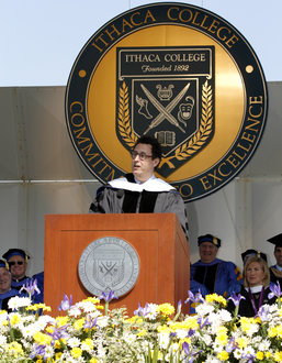 Tony Kushner speaking at IC's 2015 Commencement ceremony. Photo by Gary Hodges.