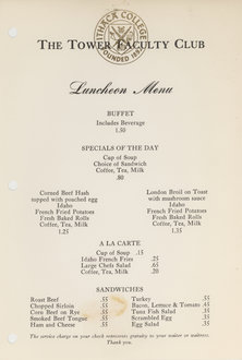 Tower Club Menu Circa 1960s