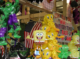 Toys at a county fair, toys on display