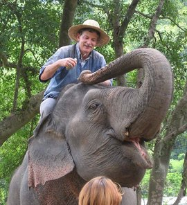 Training an elephant near Chiang Mai in Thailand.