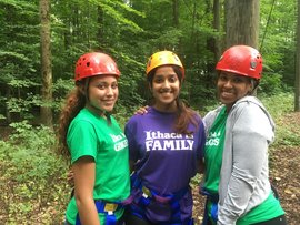 Two first year Park Scholars and and a senior Park Scholar at the First Year orientation ropes course