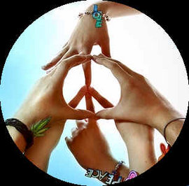 Unity through forming a peace sign