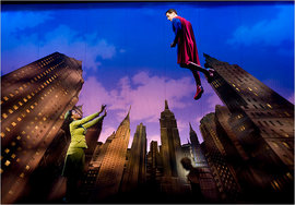 """Zakiya Young and Matt Cavenaugh in the Dallas Theater Center's revival of """"It's a Bird ... It's a Plane ... It's Superman.""""Photo by Brandon Thibodeaux"""