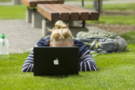 girl with mac laptop