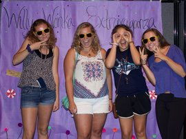 girls at Photo Booth fall welcome 2016