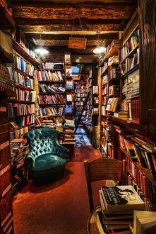 gorgeously over-stuffed bookstore