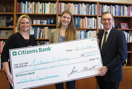 (left to right) Citizens Bank Business Banking Officer Kellea Russell, Makenzie Holmsborg, and Ithaca College President Tom Rochon.