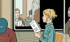 readers on the subway, Chris Ware
