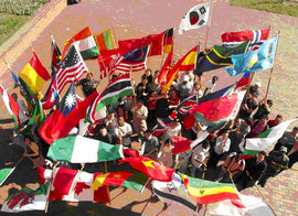 students holding country flags