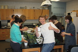 students working with plants in laboratory