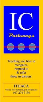yellow/red bookmark with pathways logo and contact information