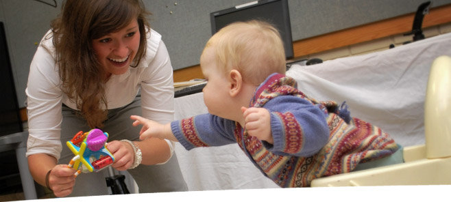 Occupational Therapy student and baby: Tots 'n' Bots study