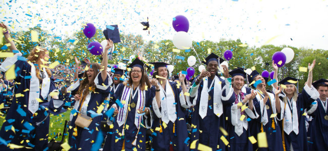 Graduates celebrate at the 122nd Commencement ceremony