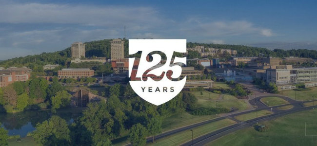 Ithaca College campus with 125th anniversary logo