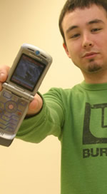 Mike Potter '07 with his winning cell phone/camera