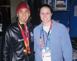 Annie with U.S. speed-skaing gold and bronze medalist Apolo Anton Ohno.